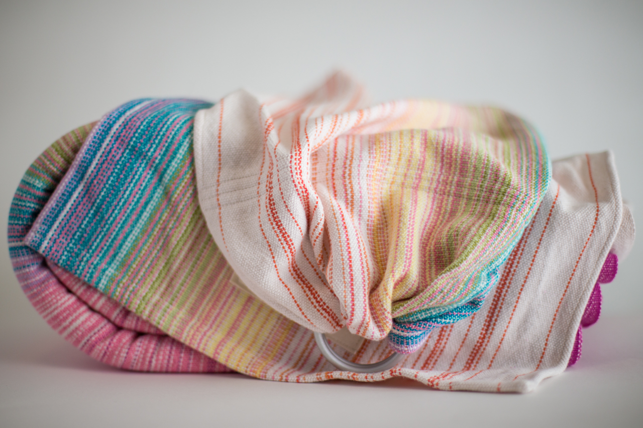 Toy Ring Sling 100% Natural Cotton Weft White & Turquoise Rails $88.00