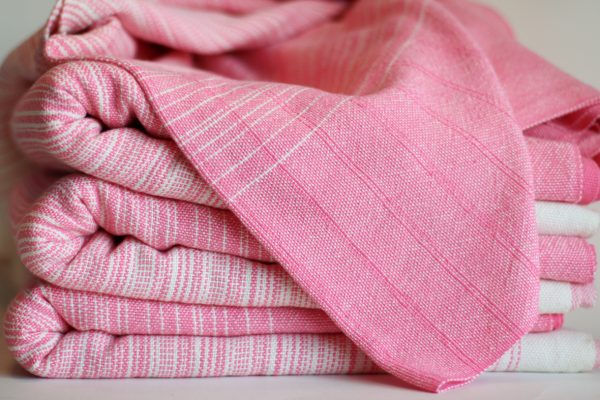4.5m, Natural Cotton Weft, Double Pink Pinstripe MM