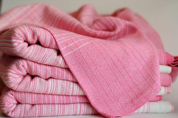 4.5m, Natural Cotton Weft, Pink Pinstripe MM